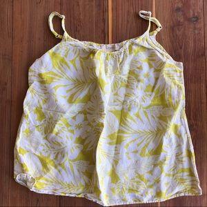 Ann Taylor LOFT Chartreuse & White Tropical Top